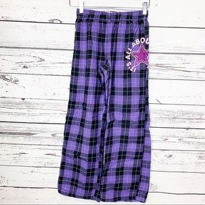 JUSTICE   purple black Dance plaid flannel pants